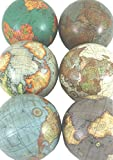 Set Of 6 Various Coloured Antique Style Globe Display Balls