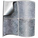 24 Pz Pietra grigia Adesivi per Piastrelle Formato 15x15 cm Cucina Adesivi per Piastrelle per Bagno adesivi -Coperture per piastrelle in vinile piatto stampato in 2D sottile (Pietra grigia)
