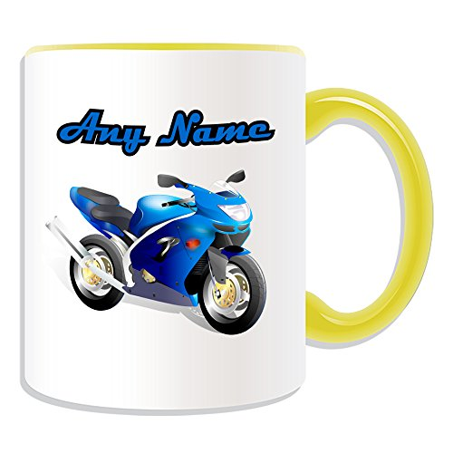 """Occasions Direct-Tazza in ceramica, motivo motociclismo, Design sportivo, qualsiasi nome, colori, %2F """"on Your Unique moto Motor Bike-Tazza, Ceramica, giallo"""