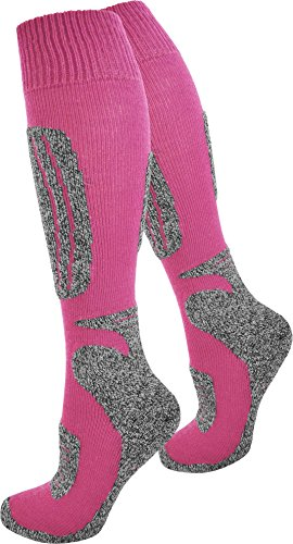 Skisocken Kniestrümpfe für Damen und Herren mit Spezialpolsterung Farbe N Pink Größe 43/46