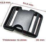 Steckschnalle für Paracord-Sicherheitsband und Hundegeschirr, gewölbt, aus Kunststoff, schwarz, 5 Stück, schwarz, 1-1/2