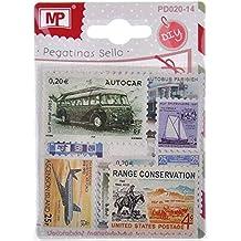 MP PD020-14 - Pegatinas con forma sello de correos