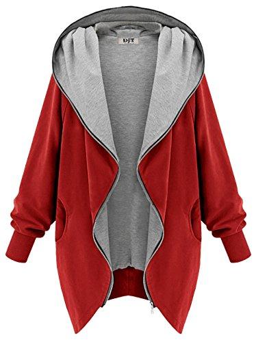 DJT Mujeres Abrigo Gabardina Impermeable de Manga Larga con Capucha Coat Jacket Rojo S