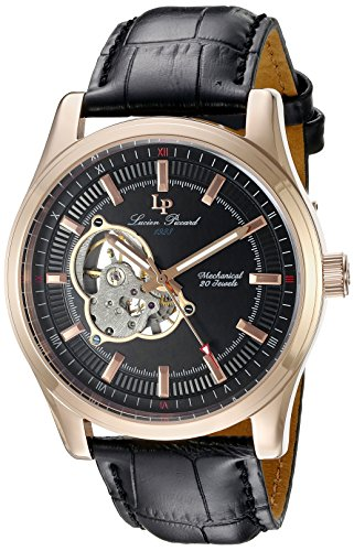 Lucien Piccard men's Mechanical Watch with Black Dial Analogue Display and Black Leather Strap LP-40006M-RG-01