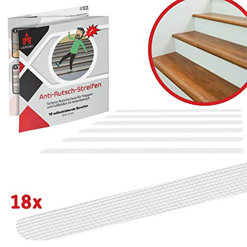Lieburg 18x gummierte, transparente Anti-Rutsch Streifen für rutschige Treppen und Stufen - selbstklebend & leicht anzubringen - Ein Rutschschutz für ein sicheres Zuhause