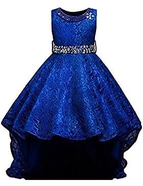 AGOGO Mädchen Blumenmädchenkleid, Kinder Lace Hochzeitskleid Tüll Festkleid Abendkleid Asymmetrisch Partykleid...
