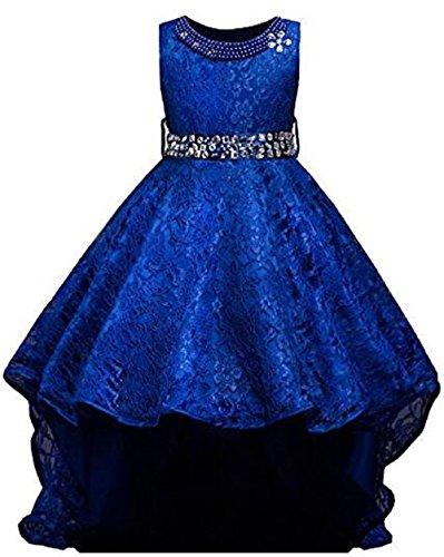 AGOGO Mädchen Blumenmädchenkleid, Kinder Lace Hochzeitskleid Tüll Festkleid Abendkleid Asymmetrisch Partykleid Vorne Kurz Hinten Lang Gr. 116 128 140 152 164 170 (140, blau)