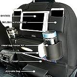 #9: oneOeightdesigns PU Leather Car Auto Seat Back Multi Pocket Organizer and iPad mini Holder Backseat Organizer Hanger Accessory Universal Use as Car for Storage Bottles, Tissue Box, Magazines,Toys(Black)