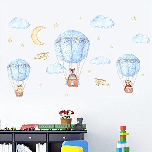 Ningsun fai da te casa piacere cartoni animati smontabile casa famiglia sticker murale art home decor decorazione stanza bambini palloncini aria calda panda fox soggiorno camera adesivi murali (multicolore, 60*90cm)