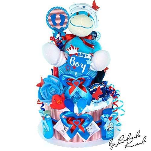 MomsStory - Windeltorte Junge | Baby-Geschenk zur Geburt Taufe Babyshower | 2 Stöckig (Rot-Blau) mit Plüschtier Lätzchen Schnuller & mehr