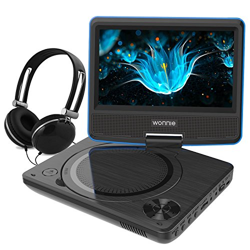 WONNIE 7,5 Lecteur DVD portable avec un écran rotatif 270°, Carte SD et prise USB avec charge directe Formats/RMVB/AVI/MP3/JPEG, Parfait pour Enfants (Bleu)