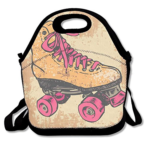 Retro Roller Skate Portable Lunch Box Bag Insulated Waterproof Fashionable Storage Handbag for Women, Adults, Kids (Boys Skate Pads Roller)