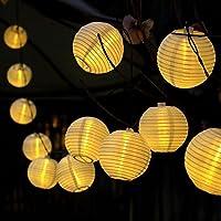 gresonic 20LED cadena Luz solar–Esfera iluminación farolillos para fiestas de boda Jardín Decoración terraza Navidad Blanco Cálido