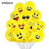 Goushy 100pcs Palloncini Colorati Emoji Emoticon per Compleanni Festa per Bambini,Natale,Party, Matrimoni, Nozze Decorazione regalini fine