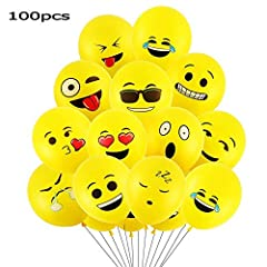 Idea Regalo - Goushy 100pcs Palloncini Colorati Emoji Emoticon per Compleanni Festa per Bambini,Natale,Party, Matrimoni, Nozze Decorazione regalini fine
