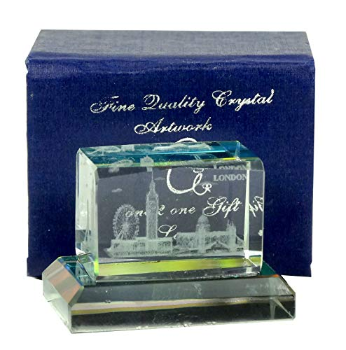 London Souvenir Mini Laser Art Crystal-London Szene: Buckingham Palace, Big Ben, Tower Bridge, London Eye und St. Paul 's-Horizontal mit Farbe Boden Buckingham Crystal