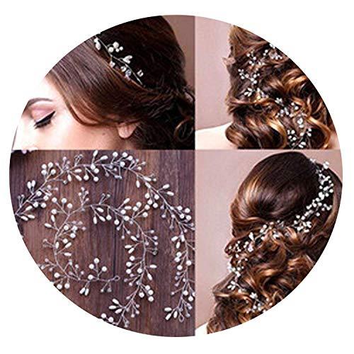 Bohemia Bandeaux de cheveux de mariage avec perles et strass pour femme Argenté 1 m