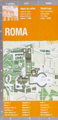Roma plano callejero plastificado. Escala 1:8.000. Edición bilingüe castellano-inglés. De Dios Editores. por VV.AA.