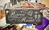 Platten Schiefer Schild Geschenk–Zuhause ist, Wo Das Herz ist Hängen Plaque, Das Perfekte Haus Erwärmung Oder Paar Geschenk, Schwarz, 25x 12cm