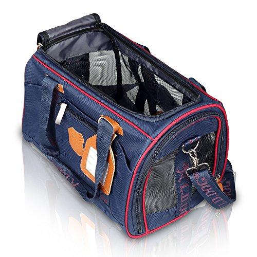 BIGWING STYLE Tragetasche Hund Katze Handtasche / Umhängetasche für Transportieren Kleintiere Haus Tasche Leinwand + Mesh atmungsaktiv und beständig Perfekt für Reisen mit dem Flugzeug oder mit dem Auto 41 × 28 × 28cm Pet Maxi Gewicht 4,5 kg