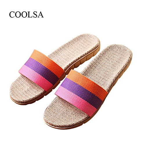 LEPAKSHI Pink-Purple-Orange, 9 : COOLSA Brand Women's Linen Slippers Summer Indoor Striped Flax Slippers Women's Non-slip Indoor Slippers Zapatos De Lino Hot