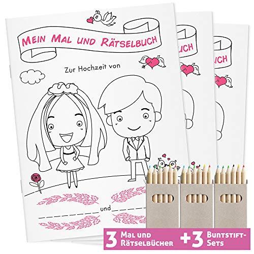 WEDDNG Hochzeitsmalbuch für Kinder mit Buntstiften. Malbuch Hochzeit mit 28 liebevoll gestalteten Ausmal- und Rätselseiten (3 Malbücher + 3 Buntstifte Set). Gastgeschenke Hochzeit
