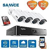 Sannce  Kit de 4 Cámaras de Vigilancia Seguridad, 1280 x 960P, CCTV DVR P2P 4CH AHD y 4 Camaras Impermeable, IR-Cut, HDMI, 36 LEDs, 1TB Disco Duro de vigilancia, 4+4(1TB)