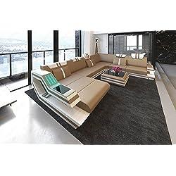 Sofá de cuero Conjunto de Muebles Para Salón Ravenna XXL LED