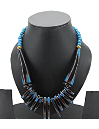 71-ARFA Stone Beads Charms Necklace Blue/black-Golden Pendant-Round (Pack Of One Piece)