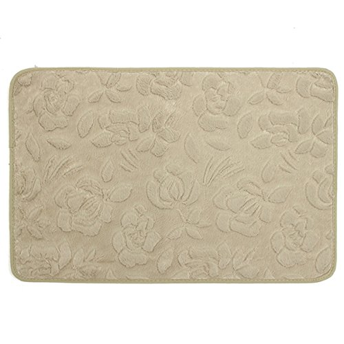 Bluelover 40x60cm antiscivolo assorbente morbido velluto corallo bagno pavimento stuoia tappeto-verde chiaro