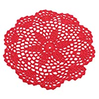 Buelgma Handmade Knitted Coasters Vintage Round Flower Crochet Cotton Lace Knitted Doilies Table Placemats Cup Pads Vase Pads Mats (Wine Red)