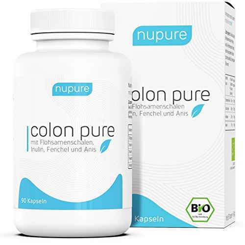 TESTSIEGER 05/2018: Nupure Colon Pure, BIO Darmreinigung mit Flohsamenschalen Pulver und Inulin, natürliches Darmreiniger Detox, 90 Kapseln