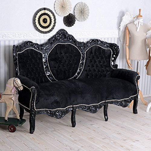Barock Sofa Schwarz Couch Sitzbank Barocksofa Liege Antik Palazzo Exclusiv