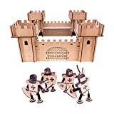 Kinder Holz Geschenkset Geschenk Ritterburg + Spielfiguren Burg Bausatz Set