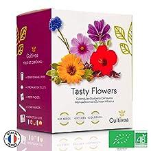 Cultivea - Mini kit pronto a coltivare fiori commestibili rari - Semi francesi ecologici e biologici al 100% - Giardino, Decora e Gusto - Idea regalo
