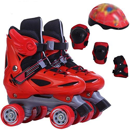 ZCRFY Rollschuhe Roller Skates Einstellbare Kinder Ausbildung Zweireihige Skates Set Atmungsaktive Rollerblades Für Anfänger Kleinkinder Kinder Jungen Mädchen Eis Skate,Red-M