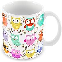 Lovely diseño de búhos, única taza–ideal para Navidad, cumpleaños, profesor, de la escuela, cualquier ocasión, cerámica, Multi Owl Design Mug