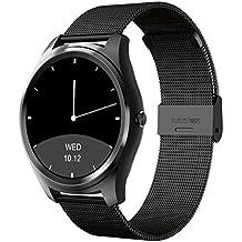 Diggro DI03 Smartwatch Bluetooth Siri Reloj inteligente  Ultra-fino IP67 Monitor de ritmo cardíaco Pedometer Sedentary Recuerde Monitor de sueño Notificaciones de empuje para Android e IOS MTK2502C 128MB + 64MB 1.15cm (negro+negro acero)