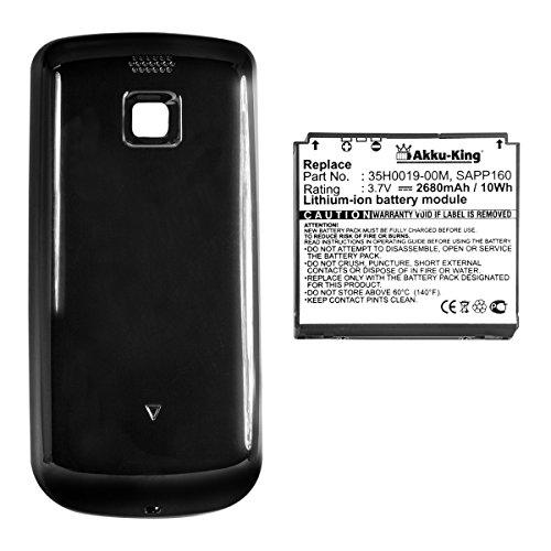 Akku-King Power-Akku kompatibel mit HTC Magic, A6161, Sapphire, Vodafone Google G2, T-Mobile MyTouch 3G - ersetzt 35H00119-00M, BA S350 - Li-Ion 2680mAh - mit Akkudeckel schwarz 3g Htc Magic
