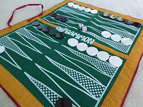 Bag Gammon - Travel backgammon set - handmade full size luxury cloth board