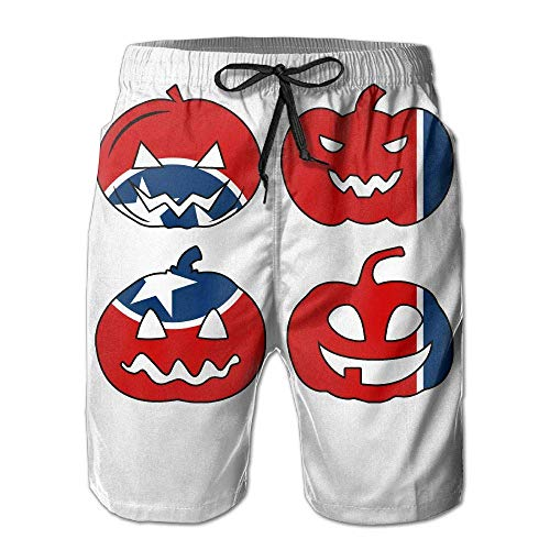 Icndpshorts Mens Swim Trunks Summer Tennessee Halloween Pumpkin Head 100% Polyester Athletic Shorts-M