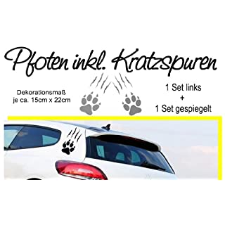 A&D design Deutschland ***highlight Autoaufkleber*** Pfoten mit Kratzspuren - 2er komplett Set - freie Folienfarbwahl!