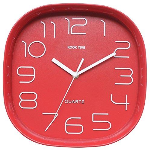 Kook Time Reloj Pared Retro Cuadrado, Rojo, 28.5x28.5x5.2 cm