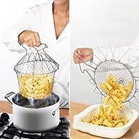 istore Stainless Steel Expandable Fry Chef Basket Kitchen Colander Magic Mesh Basket Strainer Net Cooking Steam Rinse Strain Basket