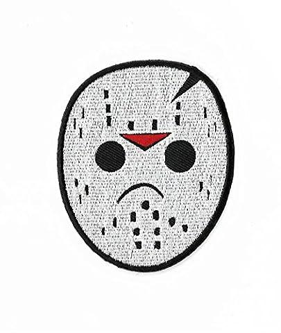 Jason Voorhees Hockey Maske Patch (8,9cm) DIY Nähen oder Bügeln bestickt auf Badge Aufnäher Horror Film Souvenir Freitag der 13. Kostüm
