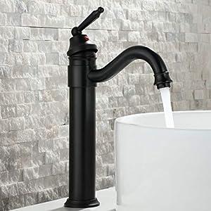 HomeLava Antik Wasserhahn Bad Messing Waschtischarmatur Schwarz Einhandmischer Nostalgie Armatur für Badezimmer