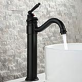 HomeLava Noir Rétro Mitigeur Robinet de Lavabo Laiton Pivotant à 360° Robinetterie pour Salle de Bain Cuisine WC