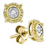 yellow-tone 925Sterling Silber Diamant Rund Wert Ohrstecker 1/20Karat