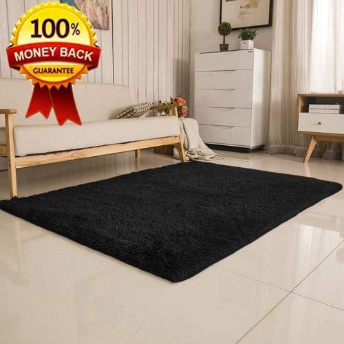 Softlife Super Soft Teppich, Bunt, Moderner Rechteck Bereich capret Seidig Glatten Unterlegmatte für Schlafzimmer Esszimmer Home Dekorieren und Innenbereich (4Füße von 5,3Füße) 4x5.3 Feet Schwarz