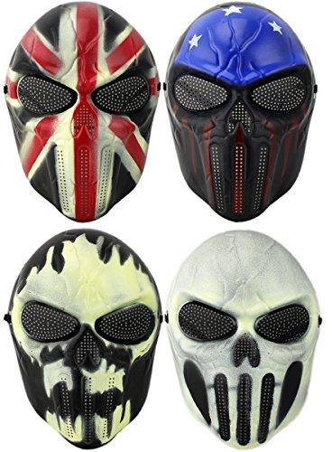 erkleidung Maske Totenkopf Schädel Vollschutzmaske Pro (Weiß/Schwarz) ()